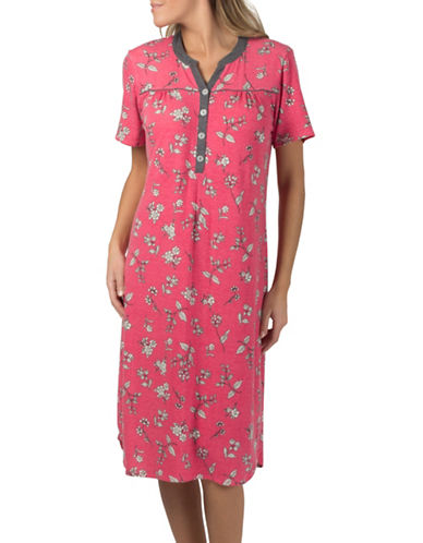 Claudel Piped Floral Short Sleeve Henley Nightgown-PINK-X-Small