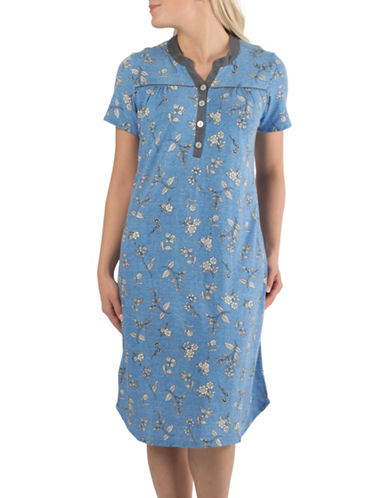 Claudel Piped Floral Short Sleeve Henley Nightgown-BLUE-Small