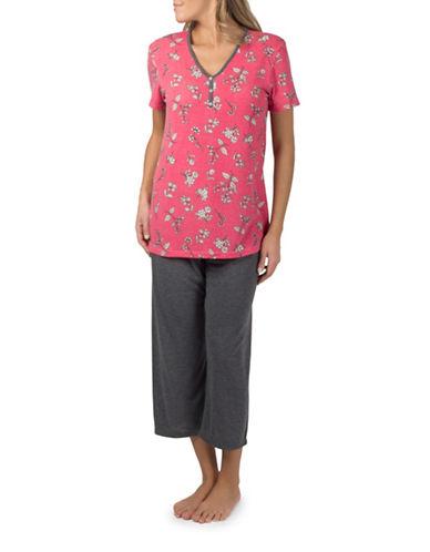 Claudel Floral Two-Piece Capri Pyjama Set-PINK-X-Small