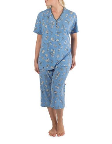 Claudel Floral Two-Piece Capri Pyjama Set-BLUE-X-Small