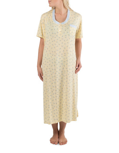 Claudel Printed Long Henley Nightgown-YELLOW-X-Small