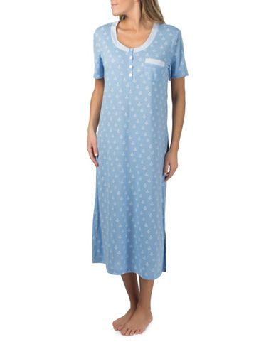 Claudel Printed Long Henley Nightgown-BLUE-X-Small