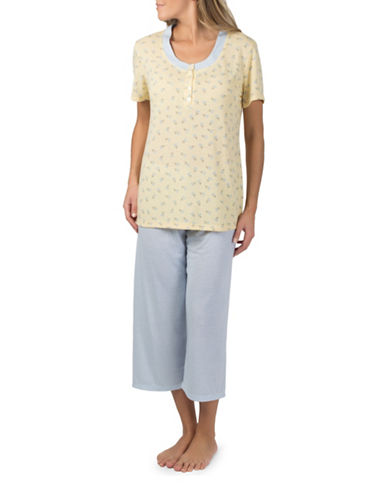 Claudel Printed Two-Piece Capri Pyjama Set-YELLOW-X-Small