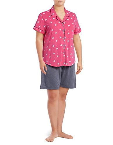 Claudel Plus Cats Two-Piece Shorts Pyjama Set-CORAL-1X
