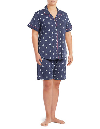 Claudel Plus Cats Two-Piece Shorts Pyjama Set-BLUE-2X