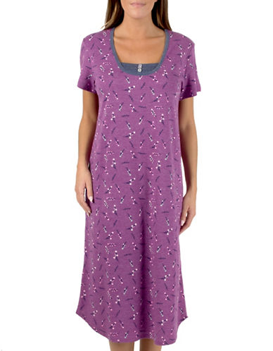 Claudel Printed Short-Sleeve Gown-PINK-Medium