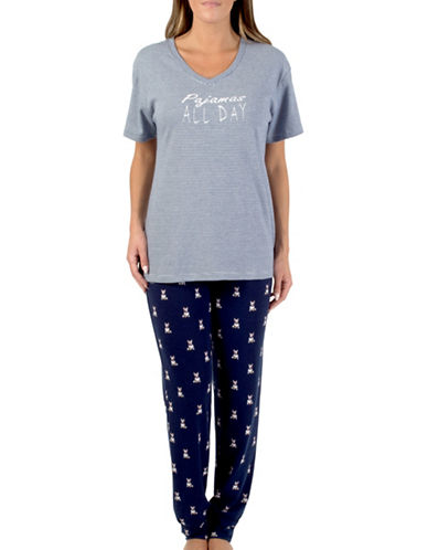 Claudel V-Neck T-Shirt and Pants Set-NAVY BLUE-Small
