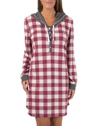 Midnight Maddie Hooded Night Gown-BURGUNDY-Small