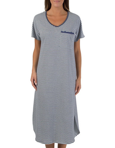 Claudel Scoop Neck Stripe Sleep Gown-BLUE-Small