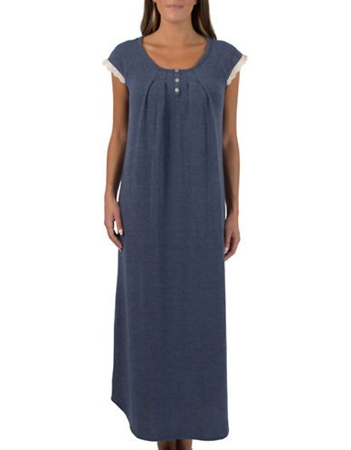 Claudel Cap Sleeve Night Gown-BLUE-X-Large