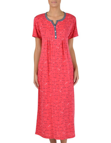 Claudel Printed Split Neck Nightgown-CORAL-Small