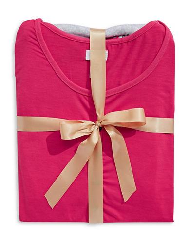 Claudel Cat Print Pyjama Set-PINK / GREY-X-Large