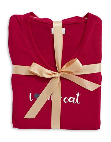 Claudel I Love My Cat Pyjama Set-RED/GREY-Medium