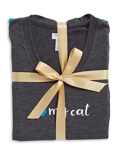 Claudel I Love My Cat Pyjama Set-BLUE/GREY-Small