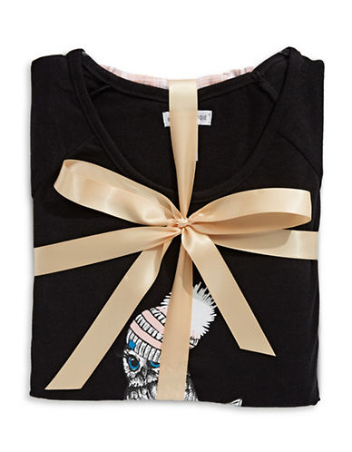Midnight Maddie Owl Print Pyjama Set-PINK/BLACK-Small
