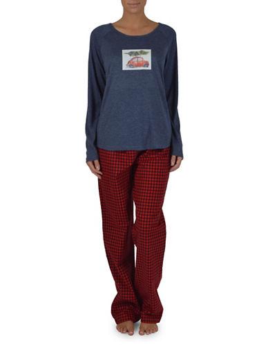 Midnight Maddie Graphic and Plaid Pajamas-RED-Large