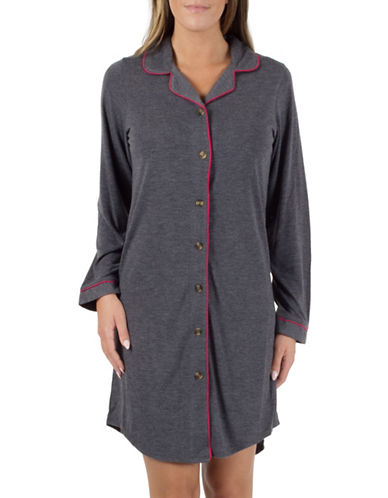 Midnight Maddie Notch Collar Nightshirt-GREY-Small