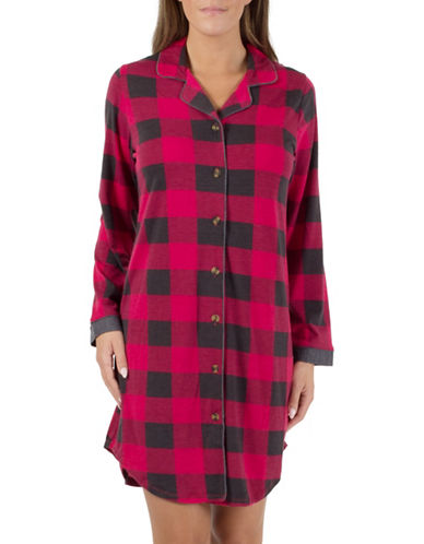 Midnight Maddie Notch Collar Nightshirt-RED-X-Large