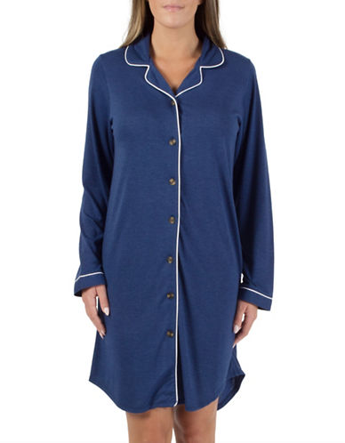 Midnight Maddie Notch Collar Nightshirt-NAVY-X-Small