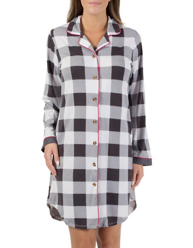 Midnight Maddie Notch Collar Nightshirt-WHITE-Large