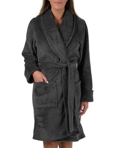 Midnight Maddie Shawl Collar Robe-CHARCOAL-Small