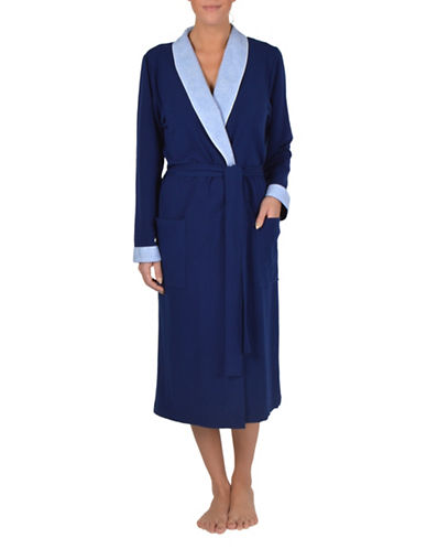 Claudel Colourblock Wrap Robe-BLUE-X-Large