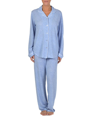 Claudel Two-Piece Printed Pyjama Set-BLUE-Medium