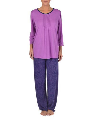 Claudel Two-Piece Dotted Printed Pyjama Set-ORCHID-Large