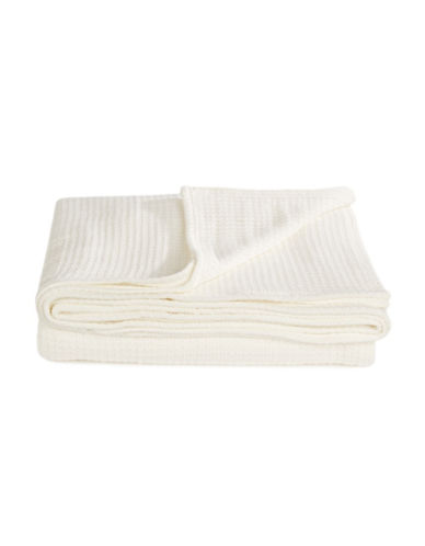 Glucksteinhome Cable Knit Cotton Blanket-WHITE-One Size