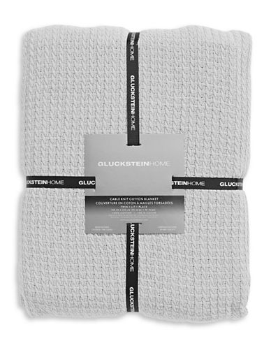 Glucksteinhome Cable Knit Blanket-GREY-King