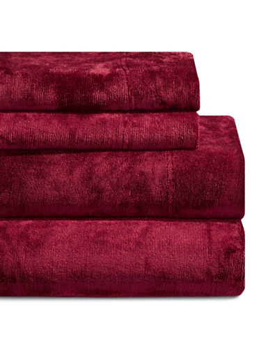 Haven Four-Piece Velvet Plush Sheet Set-RED-Double