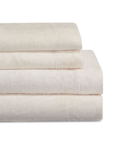Haven Four-Piece Velvet Plush Sheet Set-IVORY-Queen