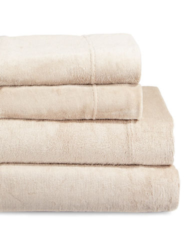 Haven Four-Piece Velvet Plush Sheet Set-BEIGE-Double