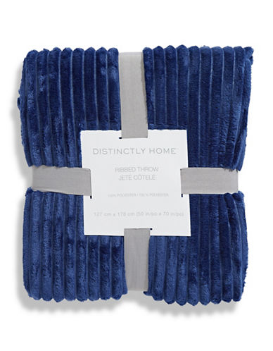 Distinctly Home Plush Ribbed Throw-BLUE-One Size