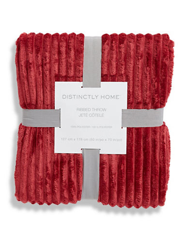 Distinctly Home Plush Ribbed Throw-RED-One Size
