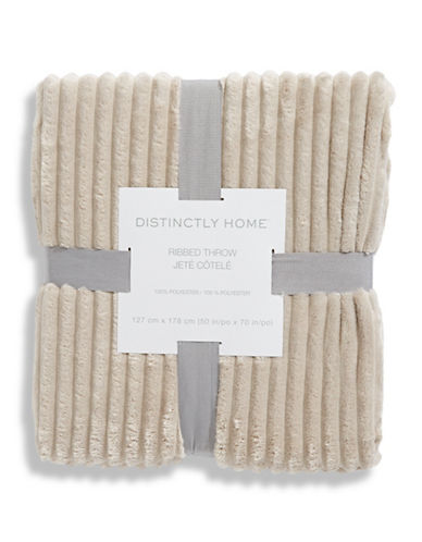 Distinctly Home Plush Ribbed Throw-TAUPE-One Size