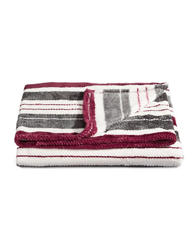 Distinctly Home Jacquard-Stripe Throw Blanket-RED-One Size