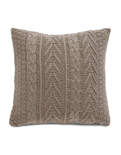 Glucksteinhome Cable Knit Square Cushion-BROWN-One Size