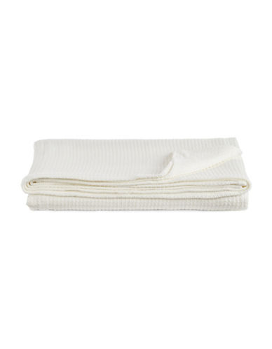 Glucksteinhome Cable Knit Cotton Blanket-WHITE-Twin