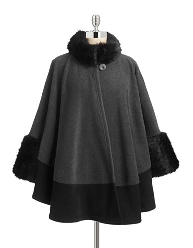 Parkhurst Mosaic Cape with Faux Fur-CHARCOALBLACKBLACK MINK-One Size  AT vintagedancer.com
