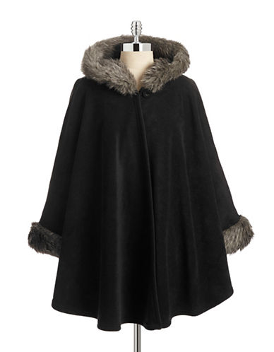 Parkhurst Hooded Cape with Faux Fur-BLACKSIBERIAN LYNX-One Size  AT vintagedancer.com