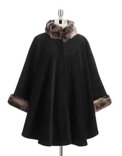 Parkhurst Desmona Cape with Faux Fur-BLACKTUNDRA-One Size  AT vintagedancer.com