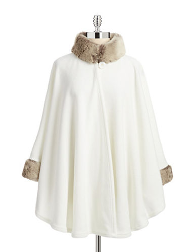 Parkhurst Desmona Cape with Faux Fur-IVORYTIMBERLAND-One Size  AT vintagedancer.com