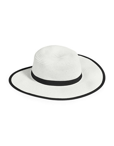 Parkhurst Ponytail Brim Straw Hat-WHITE/BLACK-One Size