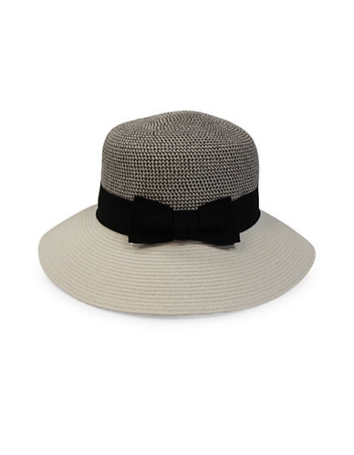 Parkhurst Chambray Bow Panama Hat-WHITE-One Size
