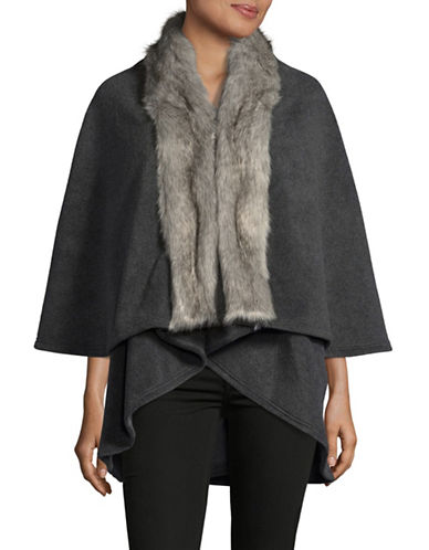 Parkhurst Giselle Layered Cape with Faux Fur Trim-CHARCOAL/GRANITE FOX-One Size