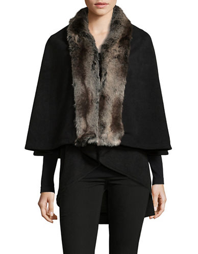Parkhurst Giselle Layered Cape with Faux Fur Trim-BLACK TUNDRA-One Size