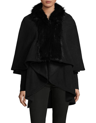 Parkhurst Giselle Layered Cape with Faux Fur Trim-BLACK MINK-One Size