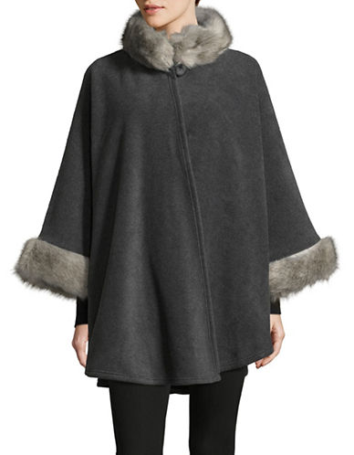 Parkhurst Desdemona Cape with Faux Fur Trim-CHARCOAL/GRANITE-One Size