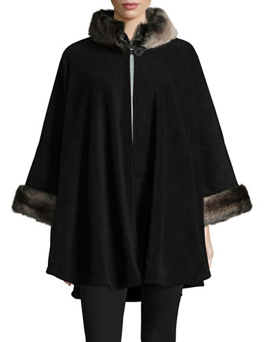 Parkhurst Desdemona Cape with Faux Fur Trim-BLACK TUNDRA-One Size